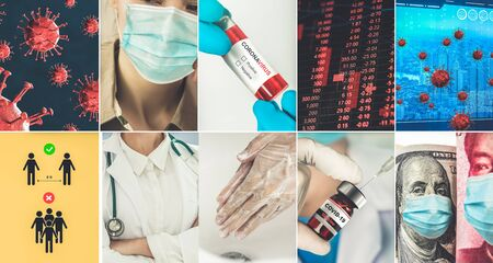 Coronavirus COVID-19 news story summary photo set in concept of covid-19 effects to people life behavior, economy, social and medical service caused by outbreak of 2019 coronavirus disease. Stock Photo