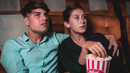 People audience watching movie in the movie theater cinema. Group recreation activity and entertainment concept. 版權商用圖片 - 148158991