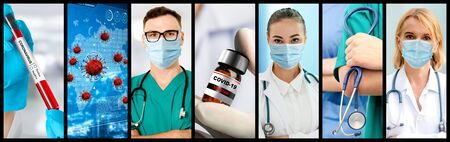 Coronavirus COVID-19 photo set banner in concept of medical treatment including medicine, vaccine and doctor service to prevent, treat and cure covid-19 or 2019 Coronavirus Disease.