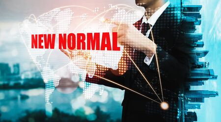 New normal concept effected by COVID 19 coronavirus that changes our lifestyle to new normal presented in style of social media banner or global news when abnormal becomes new normal . Stock Photo