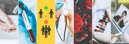 Coronavirus COVID-19 news story summary photo set in concept of covid-19 effects to people life behavior, economy, social and medical service caused by outbreak of 2019 coronavirus disease.