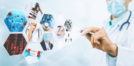2019冠状病毒病新闻故事摘要照片集概念2019冠状病毒病爆发对人们生活行为、经济、社会和医疗服务的影响。