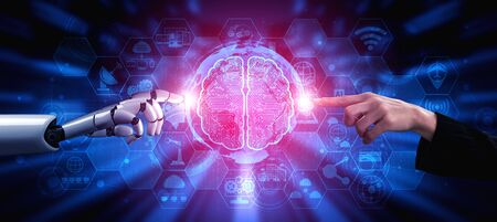 3D rendering artificial intelligence AI research of robot and cyborg development for future of people living. Digital data mining and machine learning technology design for computer brain.