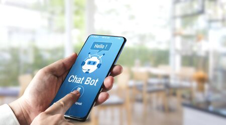 AI Chatbot smart digital customer service application concept. Computer or mobile device application using artificial intelligence chat bot automatic reply online message to help customers instantly. Banque d'images