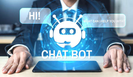 AI Chatbot smart digital customer service application concept. Computer or mobile device application using artificial intelligence chat bot automatic reply online message to help customers instantly. 스톡 콘텐츠