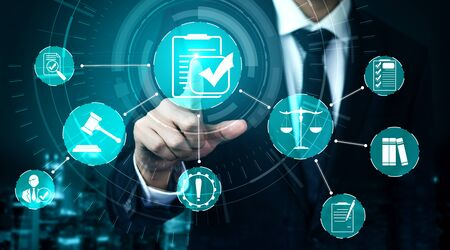 Compliance rule law and regulation graphic interface for business quality policy planning to meet international standard. Stock Photo