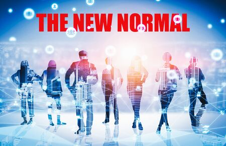 New normal concept effected by COVID 19 that changes our lifestyle to new normal presented in style of social media banner or global news when abnormal becomes new normal .