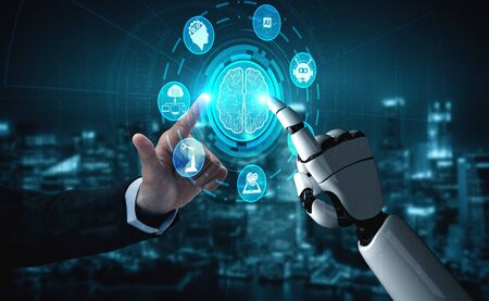 3D rendering artificial intelligence AI research of robot and cyborg development for future of people living. Digital data mining and machine learning technology design for computer brain. Banque d'images