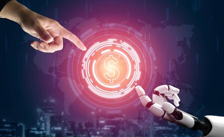 3D Rendering futuristic robot technology development, artificial intelligence AI, and machine learning concept. Global robotic bionic science research for future of human life.
