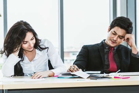 Unhappy business people dispute work problem at office
