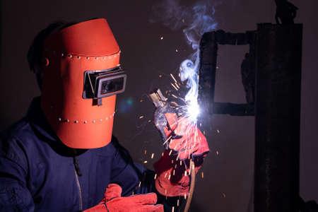 Metal welding steel works using electric arc welding machine
