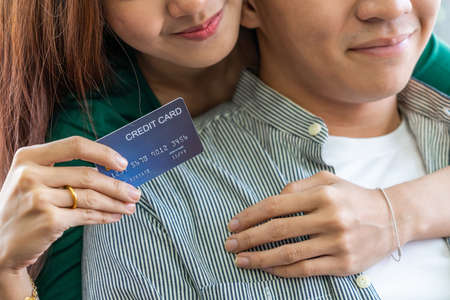 Young couple use credit card for online shopping