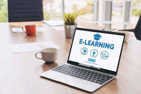E-learning and Online Education for Student and University Concept. Video conference call technology to carry out digital training course for student to do remote learning from anywhere.