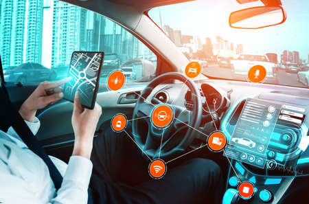 Driverless car interior with futuristic dashboard for autonomous control system . Inside view of cockpit HUD technology using AI artificial intelligence sensor to drive car without people driver . Banque d'images