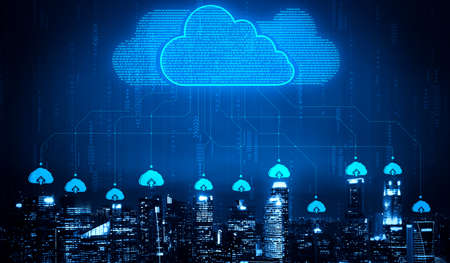 Cloud computing technology and online data storage for business network concept. Computer connects to internet server service for cloud data transfer presented in 3D futuristic graphic interface. Banco de Imagens