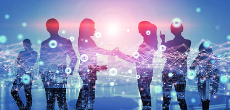 Creative image of many business people conference group meeting on city office building background showing partnership success of business deal. Concept of teamwork, trust and agreement.