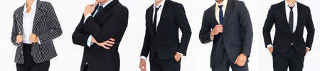 Close up people in business suit body on white background . Formal wear , businesswear studio shot .