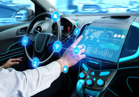 Driverless car interior with futuristic dashboard for autonomous control system . Inside view of cockpit HUD technology using AI artificial intelligence sensor to drive car without people driver .