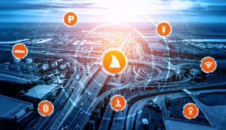 Smart transport technology concept for future car traffic on road . Virtual intelligent system makes digital information analysis to connect data of vehicle on city street . Futuristic innovation . Banco de Imagens