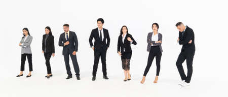 Full body portrait of many business people on white background wearing formal business suit in studio collection . Stockfoto