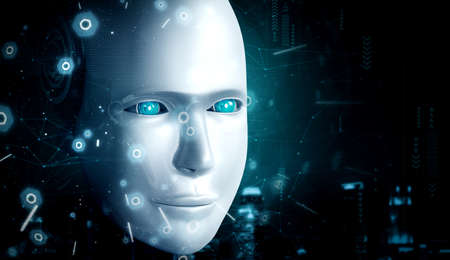 Robot humanoid face close up with graphic concept of AI thinking brain , artificial intelligence and machine learning process for the 4th fourth industrial revolution. 3D rendering 免版税图像
