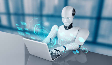 Robot humanoid use laptop and sit at table in concept of AI thinking brain , artificial intelligence and machine learning process for the 4th fourth industrial revolution . 3D illustration. 免版税图像