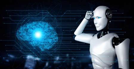 Thinking AI humanoid robot analyzing hologram screen showing concept of AI brain and artificial intelligence thinking by machine learning process. 3D illustration.