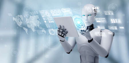 Robot humanoid using tablet computer for big data analytic using AI thinking brain , artificial intelligence and machine learning process for the 4th fourth industrial revolution . 3D rendering. 免版税图像