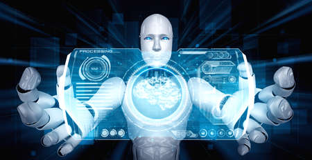 AI humanoid robot holding virtual hologram screen showing concept of AI brain and artificial intelligence thinking by machine learning process. 3D illustration. 免版税图像