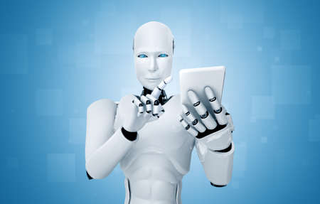 Robot humanoid use mobile phone or tablet in future office while using AI thinking brain , artificial intelligence and machine learning process . 4th fourth industrial revolution 3D illustration.