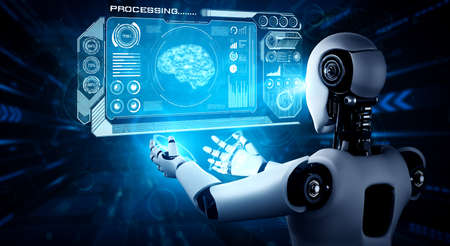 AI humanoid robot holding virtual hologram screen showing concept of AI brain and artificial intelligence thinking by machine learning process. 3D illustration.