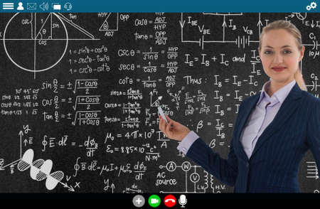 Teacher teach lesson on e-learning and online education app for remote student . Video conference call technology to carry out digital training course for people to do learning from anywhere.