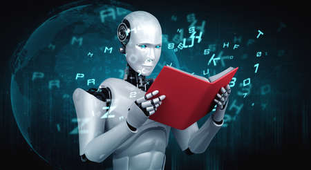 3D illustration of robot humanoid reading book in concept of future artificial intelligence and 4th fourth industrial revolution .