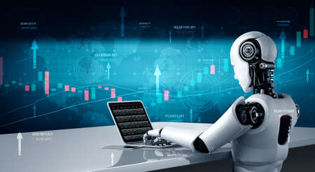 Future financial technology controlled by AI robot using machine learning and artificial intelligence to analyze business data and give advice on investment and trading decision . 3D illustration .