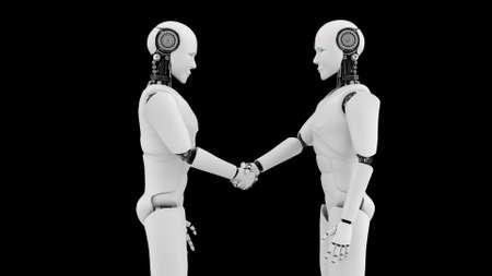Futuristic robot handshake , artificial intelligence CGI on black background . Robotic man 3D render animation . 3D illustration .