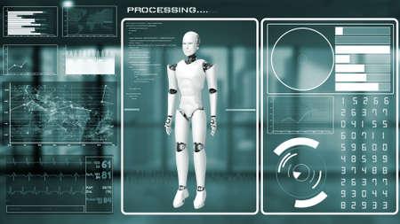 Futuristic robot, artificial intelligence CGI big data analytics and programming . Robotic man 3D render animation . 3D illustration .