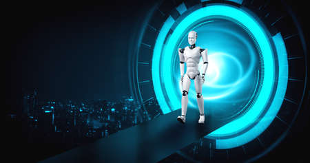 3D rendering robot humanoid in sci fi fantasy world . Concept of AI thinking brain and machine learning process for the 4th fourth industrial revolution .