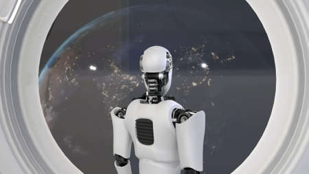 Futuristic robot, artificial intelligence CGI inside spaceship in space universe overlooking planet earth outside the space shuttle window . Robotic man 3D render . 3D illustration . 免版税图像