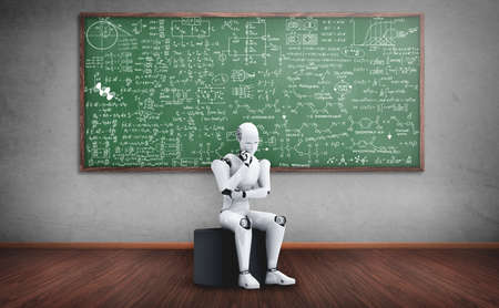 Thinking AI humanoid robot analyzing screen of mathematics formula and science equation by using artificial intelligence and machine learning process for the 4th industrial revolution. 3D illustration