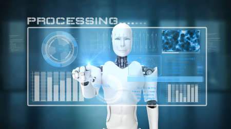 Futuristic robot, artificial intelligence CGI big data analytics and programming . Robotic man 3D render animation . 3D illustration .