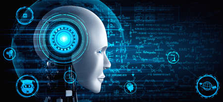 Robot humanoid face close up with graphic concept of engineering science study by AI thinking brain, artificial intelligence and machine learning process for 4th industrial revolution. 3D illustration
