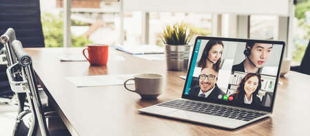 Video call business people meeting on virtual workplace or remote office. Telework conference call using smart video technology to communicate colleague in professional corporate business. Imagens