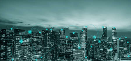 Advanced communication and global internet network connection in smart city . Concept of future 5G wireless digital connecting and social media networking .