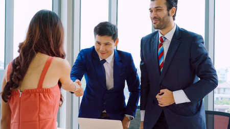 Job seeker in job interview meeting with manager and interviewer at corporate office. The young interviewee seeking for a professional career job opportunity . Human resources and recruitment concept.