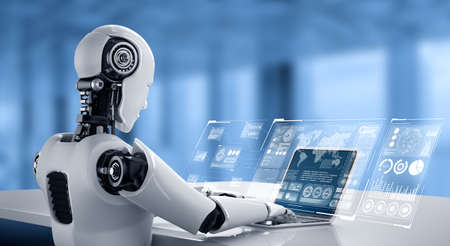 Robot humanoid use laptop and sit at table for big data analytic using AI thinking brain , artificial intelligence and machine learning process for the 4th fourth industrial revolution . 3D rendering. Banque d'images