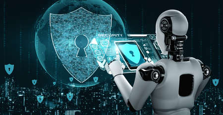 AI robot using cyber security to protect information privacy . Futuristic concept of cybercrime prevention by artificial intelligence and machine learning process . 3D rendering illustration . 版權商用圖片