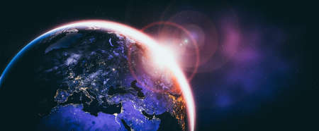Planet earth globe view from space showing realistic earth surface and world map as in outer space point of view . Banco de Imagens