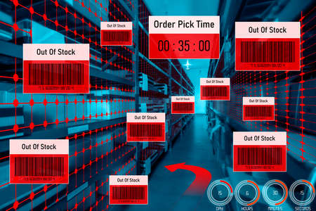 Smart warehouse management system using augmented reality technology to identify package picking and delivery . Future concept of supply chain and logistic business . Standard-Bild