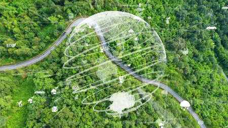 Future environmental conservation and sustainable ESG modernization development by using technology of renewable resources to reduce pollution and carbon emission . Banque d'images