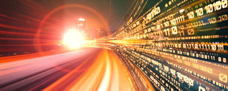 Digital data flow on road with motion blur to create vision of fast speed transfer . Concept of future digital transformation , disruptive innovation and agile business methodology .